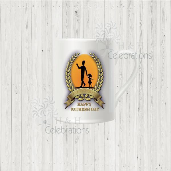 No 1 Father And Daughter Laurel Silhouette Personalised Mug